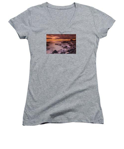 A Sunset At Track Beach Women's V-Neck T-Shirt