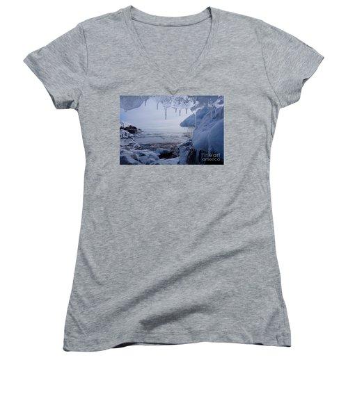 A Superior Ice Cave Women's V-Neck T-Shirt (Junior Cut) by Sandra Updyke