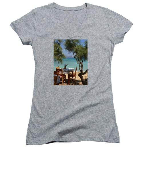 A Table Underneath The Welcoming Shade Women's V-Neck T-Shirt