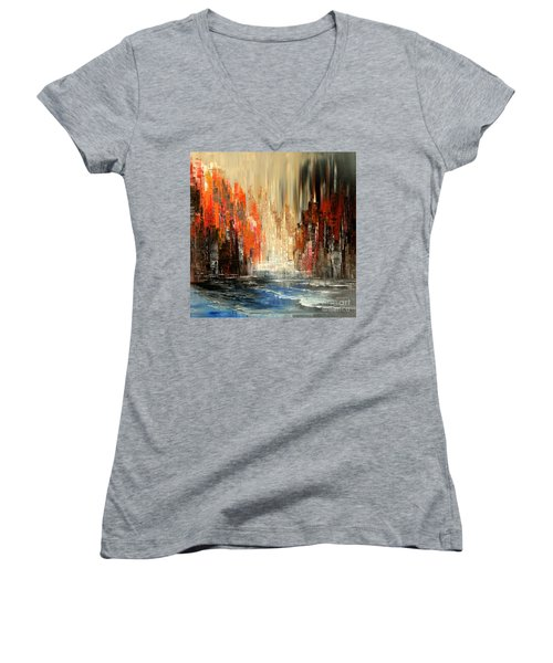 Women's V-Neck T-Shirt (Junior Cut) featuring the painting A Tale Of Two Cities by Tatiana Iliina