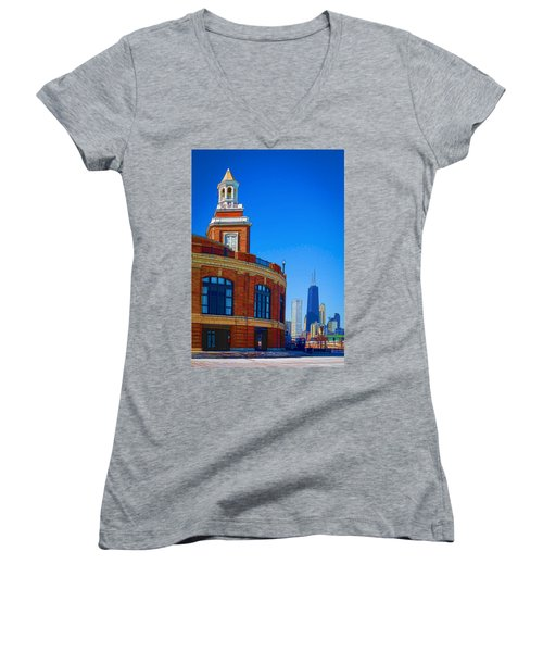 Women's V-Neck T-Shirt (Junior Cut) featuring the photograph A Textured Navy Pier by Kathleen Scanlan