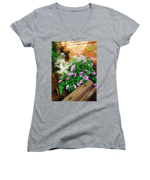 Women's V-Neck T-Shirt (Junior Cut) featuring the painting A Touch Of Nature by Sandy MacGowan