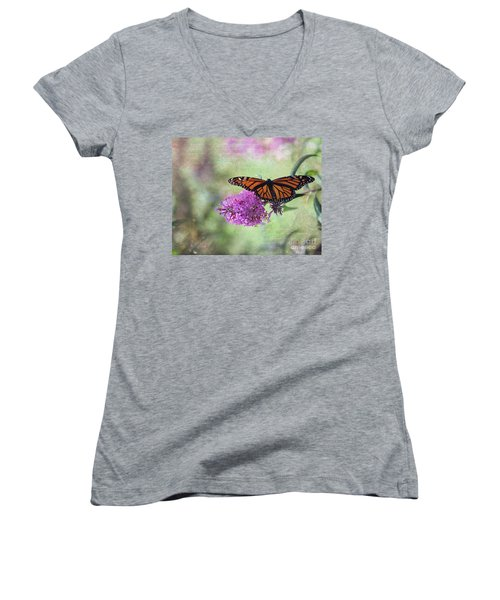 A Touch Of Spring Women's V-Neck T-Shirt (Junior Cut) by Laurinda Bowling