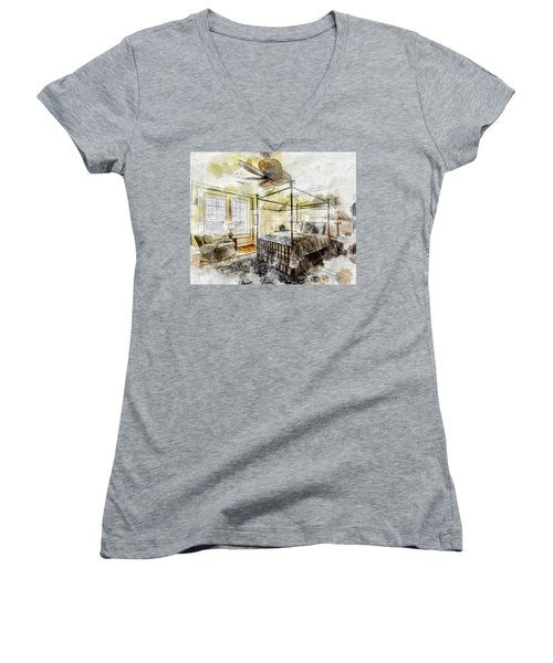 A Traditional Bedroom Women's V-Neck