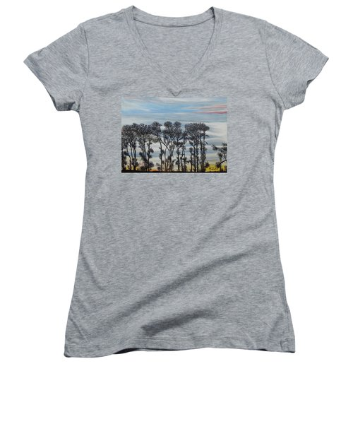 Women's V-Neck T-Shirt (Junior Cut) featuring the painting A Treeline Silhouette by Marilyn  McNish