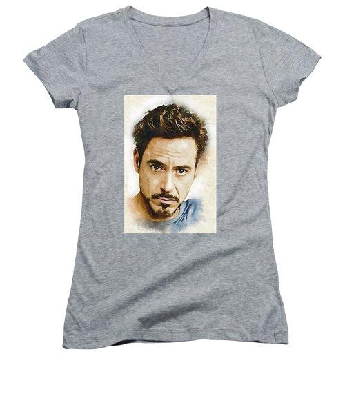 A Tribute To Robert Downey Jr. Women's V-Neck