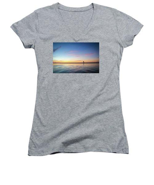 A Twilight Beach Walk Women's V-Neck T-Shirt