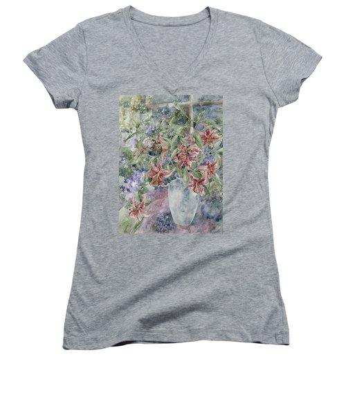 A Vase Of Lilies Women's V-Neck T-Shirt