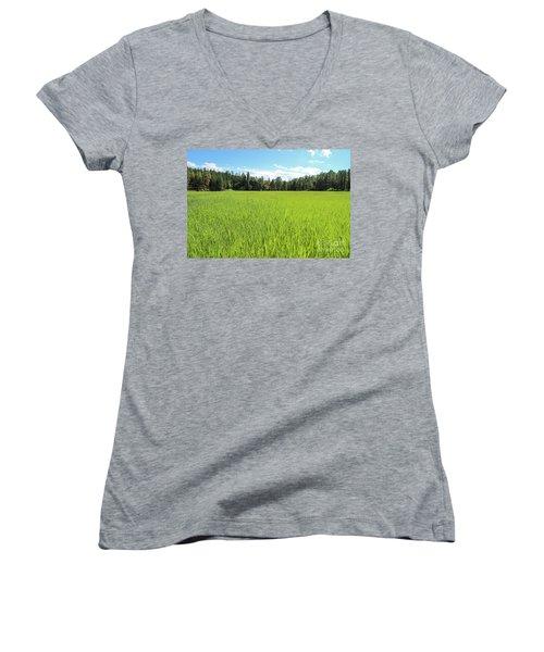 Women's V-Neck featuring the photograph A Very Green Meadow by Bill Gabbert