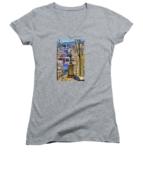 Women's V-Neck T-Shirt (Junior Cut) featuring the photograph A View From College Hill by DJ Florek