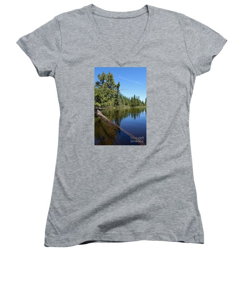 Women's V-Neck T-Shirt (Junior Cut) featuring the photograph A View From My Kayak by Sandra Updyke