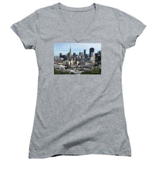 Women's V-Neck T-Shirt (Junior Cut) featuring the photograph A View Of Downtown From Nob Hill by Steven Spak