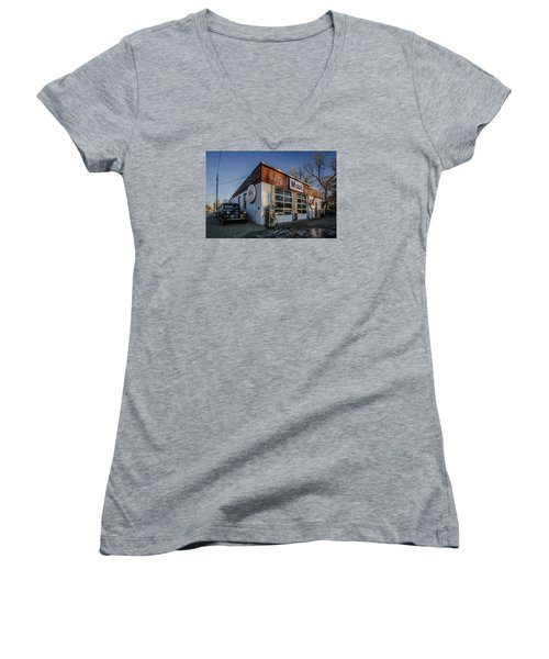 A Vintage Gas Station And Vintage Cars In Early Morning Light Women's V-Neck