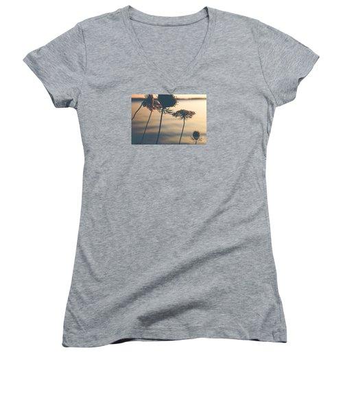 A Vintage Sunset Women's V-Neck T-Shirt (Junior Cut) by Rebecca Davis
