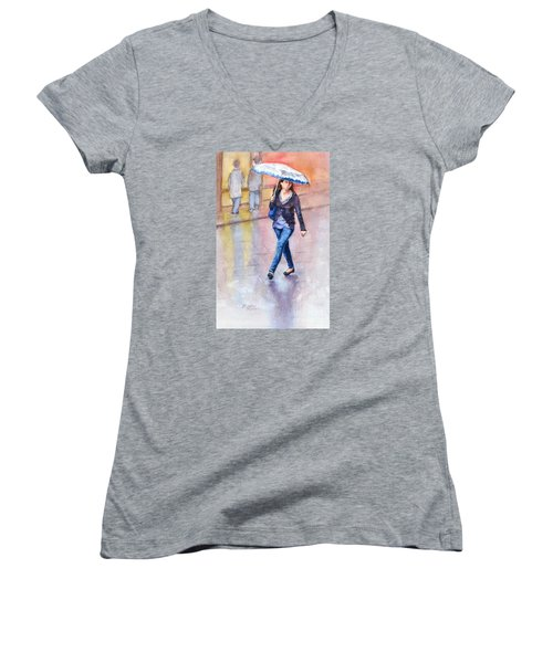 A Walk In The Rain Women's V-Neck T-Shirt (Junior Cut) by Bonnie Rinier