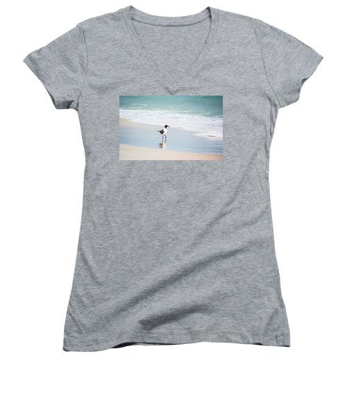 A Walk On The Beach Women's V-Neck T-Shirt (Junior Cut) by Shelby  Young