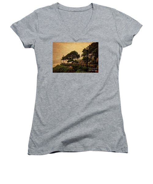Women's V-Neck T-Shirt (Junior Cut) featuring the photograph A Walk On The Edge - Peru by Mary Machare