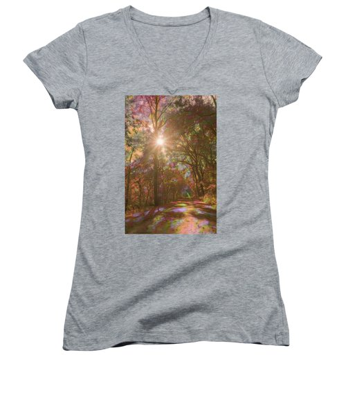 A Walk Through The Rainbow Forest Women's V-Neck (Athletic Fit)