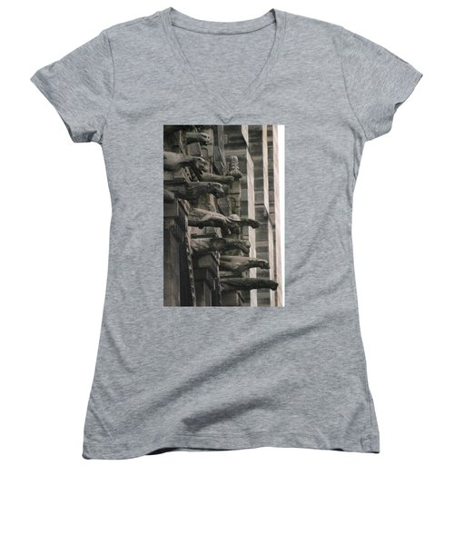 A Wall Of Gargoyles Notre Dame Cathedral Women's V-Neck T-Shirt (Junior Cut) by Christopher Kirby