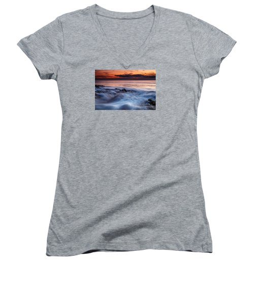A Wave At Sunset Women's V-Neck T-Shirt