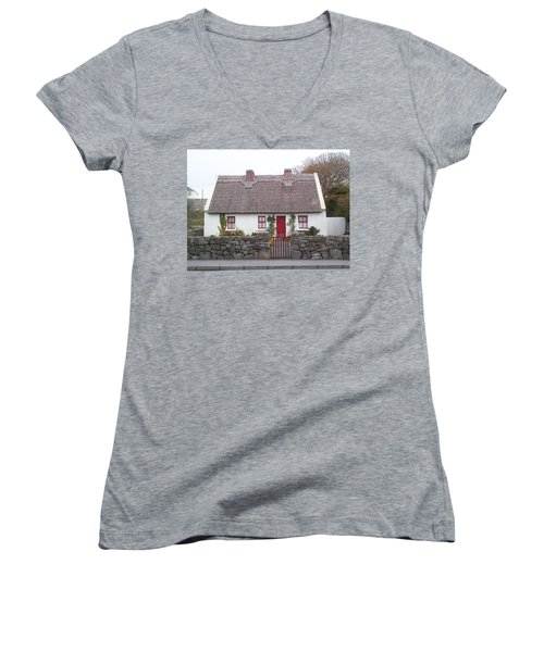 Women's V-Neck T-Shirt (Junior Cut) featuring the photograph A Wee Small Cottage by Charles Kraus