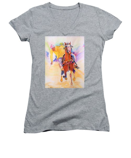 A Win Women's V-Neck T-Shirt (Junior Cut) by Khalid Saeed
