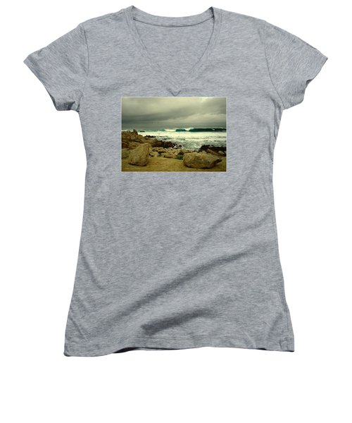Women's V-Neck T-Shirt (Junior Cut) featuring the photograph A Winter Day At The Beach by Joyce Dickens