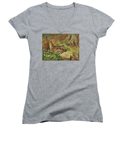 A Woodcock And Chicks Women's V-Neck (Athletic Fit)