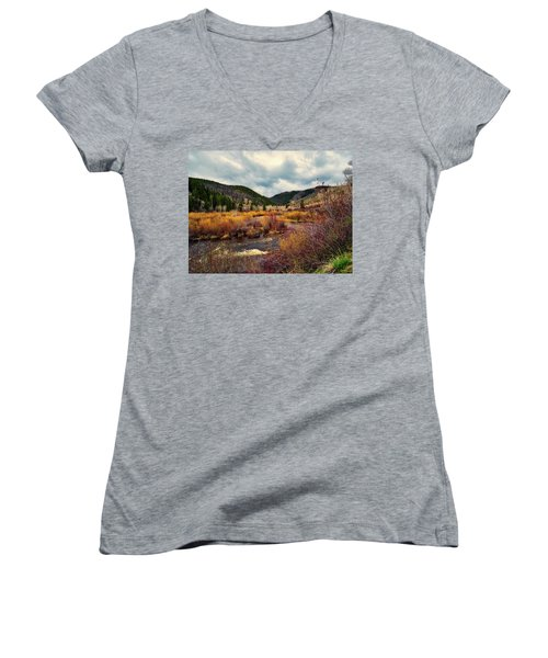 A Wyoming Autumn Day Women's V-Neck T-Shirt (Junior Cut) by L O C