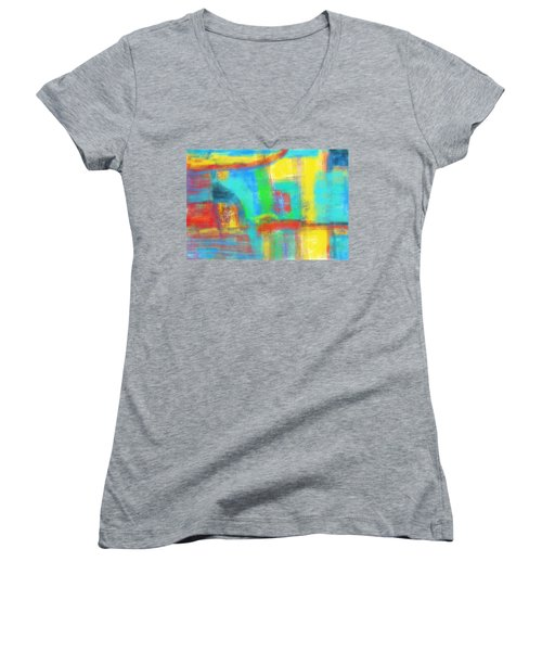 Women's V-Neck T-Shirt (Junior Cut) featuring the painting A Yellow Day by Susan Stone