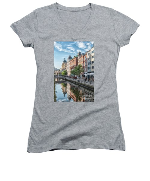 Women's V-Neck T-Shirt (Junior Cut) featuring the photograph Aarhus Afternoon Canal Scene by Antony McAulay