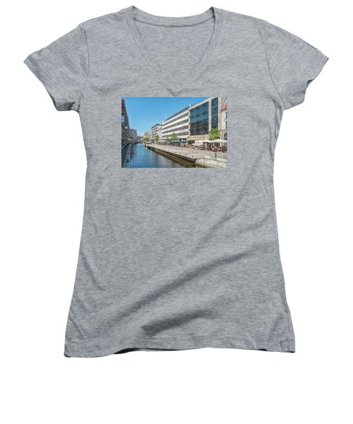 Women's V-Neck T-Shirt (Junior Cut) featuring the photograph Aarhus Canal Activity by Antony McAulay