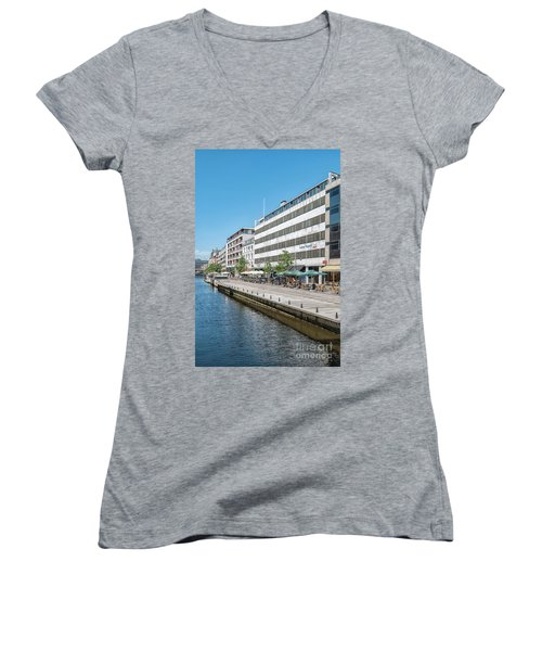 Women's V-Neck T-Shirt (Junior Cut) featuring the photograph Aarhus Canal Scene by Antony McAulay