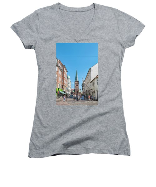 Women's V-Neck T-Shirt (Junior Cut) featuring the photograph Aarhus Street Scene by Antony McAulay