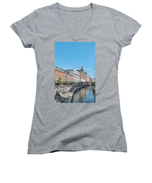 Women's V-Neck T-Shirt (Junior Cut) featuring the photograph Aarhus Summertime Canal Scene by Antony McAulay