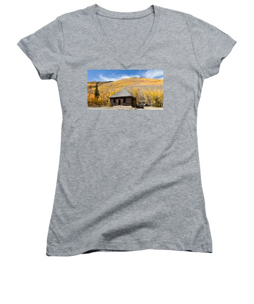 Abandoned Cabin Near The Old Mining Town Of Ironton Women's V-Neck T-Shirt (Junior Cut) by Carol M Highsmith
