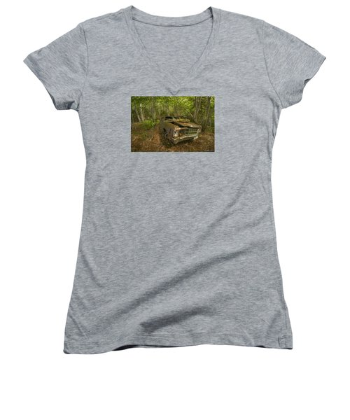 Abandoned Chevelle In Cape Breton Women's V-Neck T-Shirt (Junior Cut) by Ken Morris