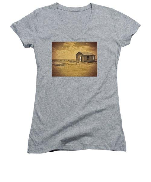 Abandoned Dust Bowl Home Women's V-Neck