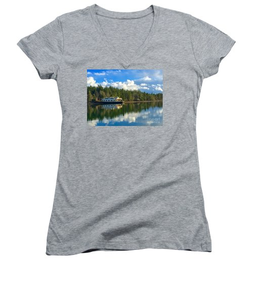 Abandoned Ferry Women's V-Neck T-Shirt (Junior Cut) by Sean Griffin