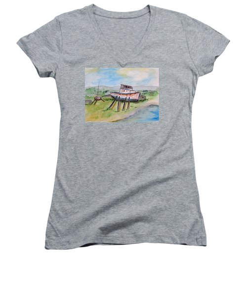 Abandoned Fishing Boat Women's V-Neck