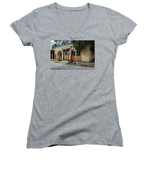Women's V-Neck featuring the photograph Abandoned Garage by Scott Read