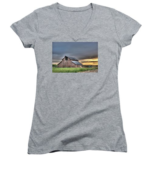 Women's V-Neck T-Shirt (Junior Cut) featuring the photograph Abandoned by Jim and Emily Bush