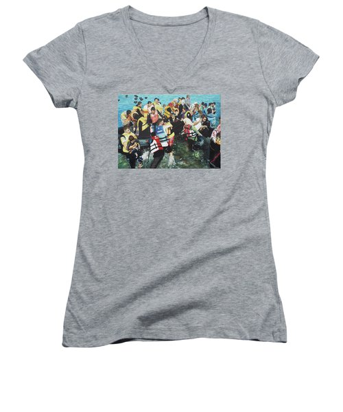 Women's V-Neck T-Shirt (Junior Cut) featuring the painting Abandoned Souls by Eric Kempson