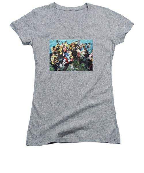 Abandoned Souls Women's V-Neck T-Shirt (Junior Cut) by Eric Kempson