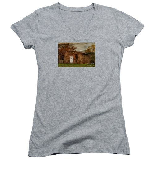 Women's V-Neck T-Shirt (Junior Cut) featuring the photograph Abandoned by Tamera James