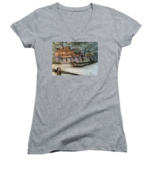 Women's V-Neck T-Shirt (Junior Cut) featuring the drawing Abandoned by Terri Mills