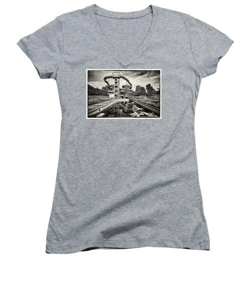 Lets Have A Splash - Abandoned Water Park Women's V-Neck T-Shirt (Junior Cut) by Dirk Ercken