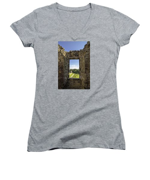Women's V-Neck T-Shirt (Junior Cut) featuring the photograph Aberdour Castle by Jeremy Lavender Photography
