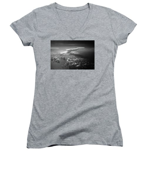 Above Earth 1 Women's V-Neck T-Shirt (Junior Cut) by Cedric Hampton