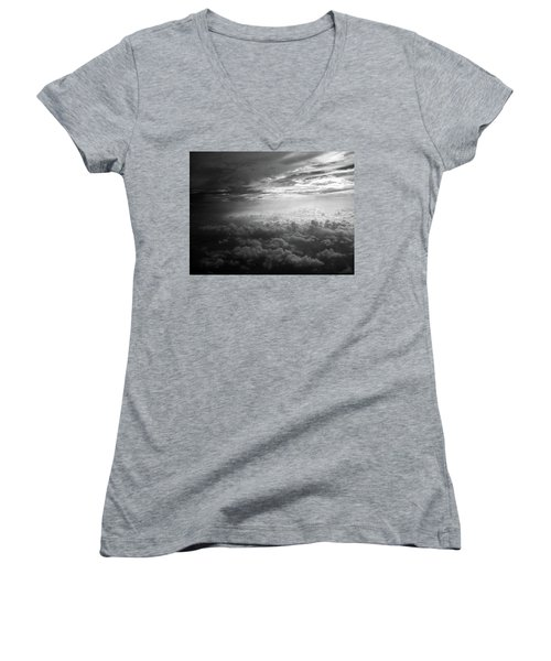 Above Earth 3 Women's V-Neck T-Shirt (Junior Cut) by Cedric Hampton